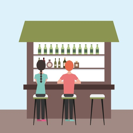 back view cartoon man and woman sitting on stool and counter vector illustration Illustration