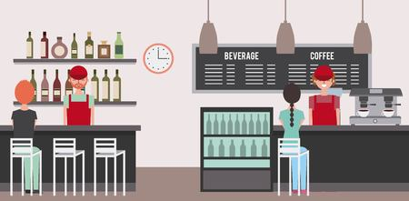 coffee bar and baristas behind counter diners people sitting on stool vector illustration