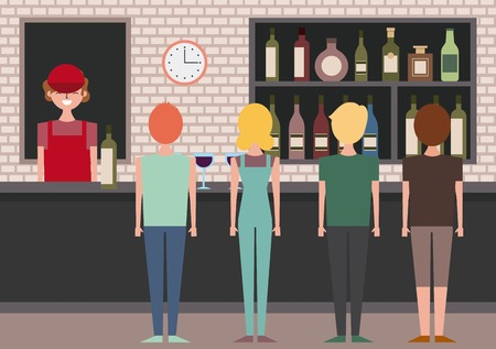 group people viewed back and barista behind bar counter vector illustration