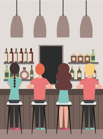 group people sitting on stool viewed from the back in the coffee bar vector illustration Illustration