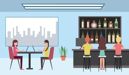 people sitting in stool and women typing laptops on coffee shop vector illustration Illustration