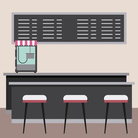 Cinéma bar comptoir tabourets conseil menu illustration vectorielle Banque d'images - 97910065