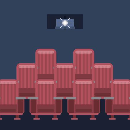 cinema film projector light seats vector illustration Фото со стока - 97910070