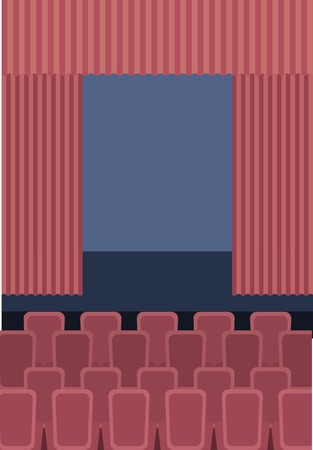 theater cinema curtains and seats vector illustration 일러스트