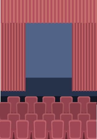 theater cinema curtains and seats vector illustration Stock Illustratie