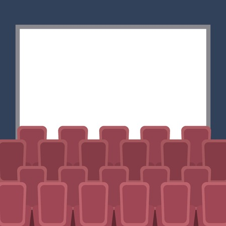 cinema auditorium with seats and white blank screen vector illustration