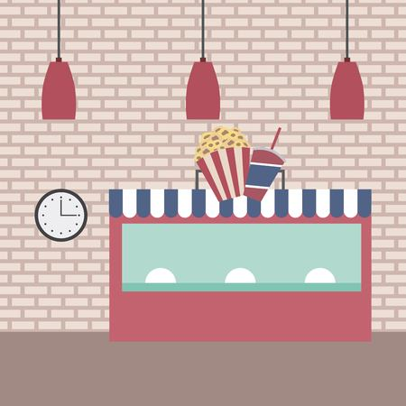 cinema shop popcorn soda ceiling lamps clock brick wall vector illustration Illustration