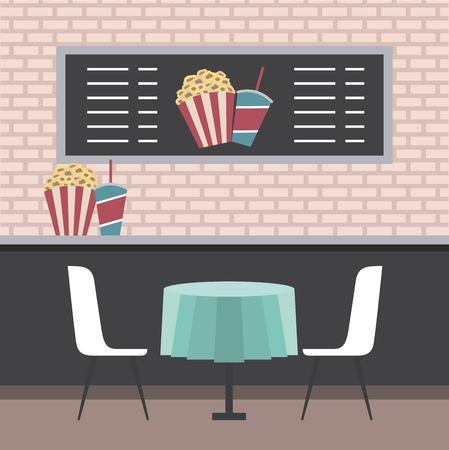 시네마 극장 카운터 테이블 의자 팝콘과 음료수 벡터 일러스트 레이션 스톡 콘텐츠 - 97910075