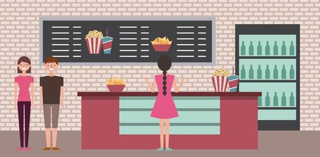 people shopping in cinema theater popcorn soda cooler vector illustration