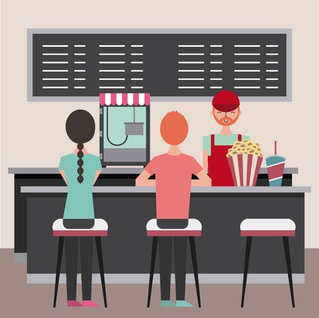 salesman and people sitting on stool in cinema bar counter with popcorn soda vector illustration