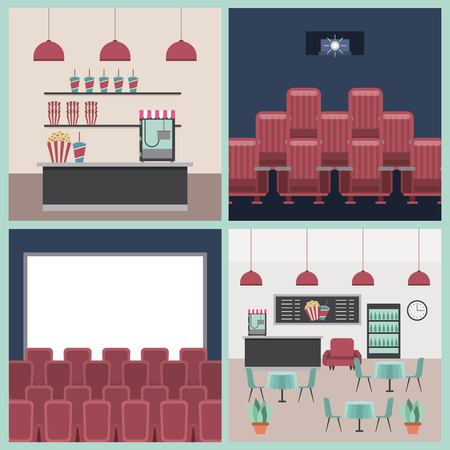 cinema theater furniture scene set vector illustration