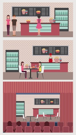 banners people cinema theater shop snacks vector illustration