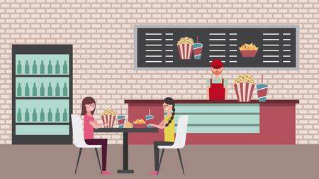 salesman and girls sitting table chairs in cinema bar counter with pop corn soda vector illustration