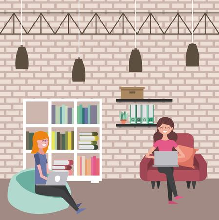 women sitting on sofa and bean chair using laptops vector illustration