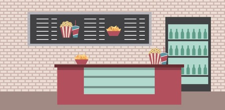 cinema counter cooler sodas popcorn snacks menu list vector illustration