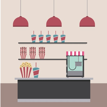 cinema bar counter machine pop corn soda and shelf food lamps vector illustration