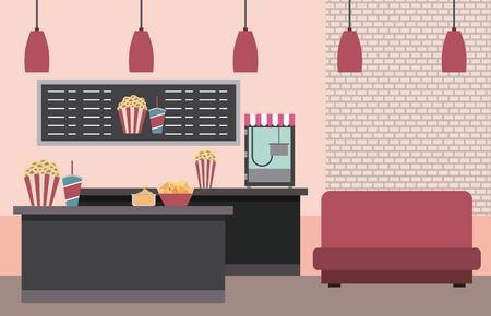 cinema counter machine popcorn soda sofa menu board vector illustration