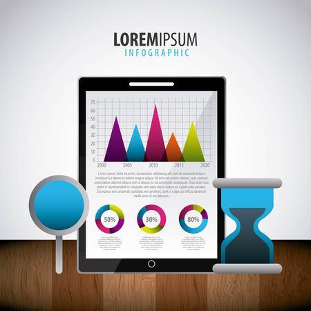infographic statistics set business cloud office vector illustration Ilustrace