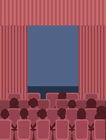 people sit theater cinema curtains and seats vector illustration Illustration