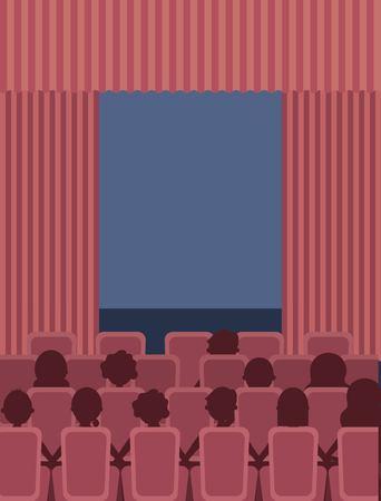 people sit theater cinema curtains and seats vector illustration Illustration