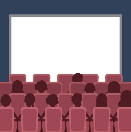 people cinema auditorium with seats and white blank screen vector illustration