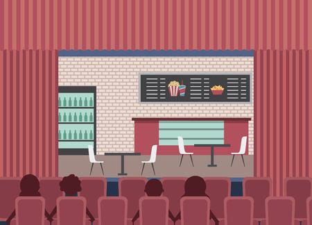 people sit in red chair theater looking cinema shop counter cooler vector illustration