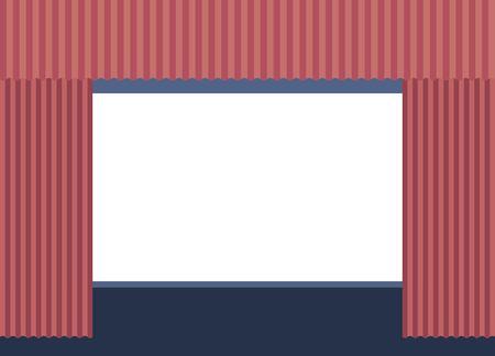 cinema blank screen curtains image vector illustration Stock Illustratie