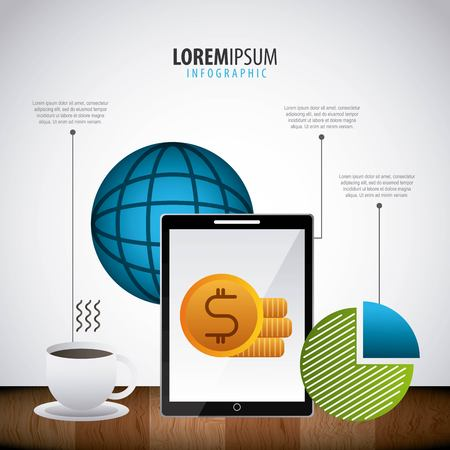 Infografik Statistiken Smartphone Dollar Pie Chat Weltgeschäft Vektor-Illustration Standard-Bild - 97910333