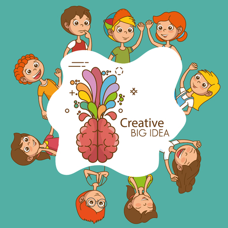 kids with creative big idea vector illustration design Ilustração