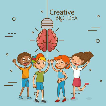 創造的な大きなアイデアベクターイラストデザインの子供たち