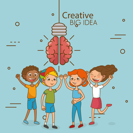 Kids with creative big idea vector illustration design