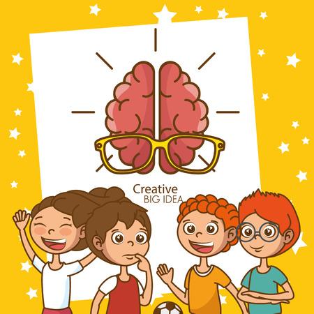 kids with creative big idea brain vector illustration design