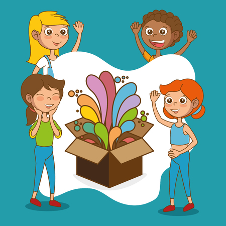 kids with creative big idea in a box vector illustration design