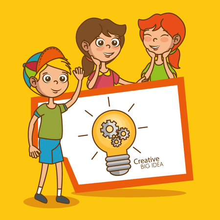 kids with creative big idea with light bulb vector illustration design Ilustração