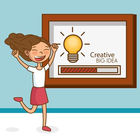 Girl with bulb big idea vector illustration design Illustration