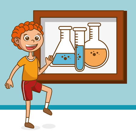 boy with tube test education icons vector illustration design