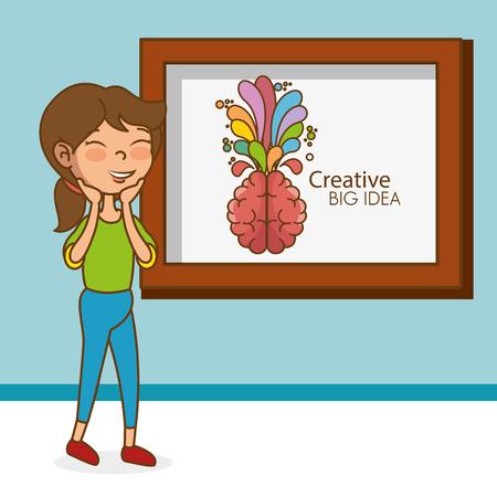 girl with brain creative big idea vector illustration design Illustration