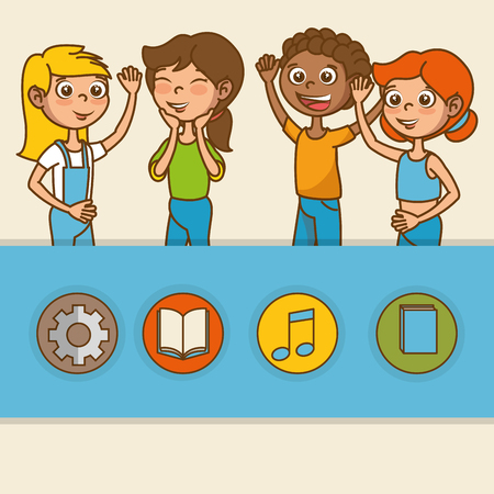 kids with education icons vector illustration design Stock Vector - 97892828