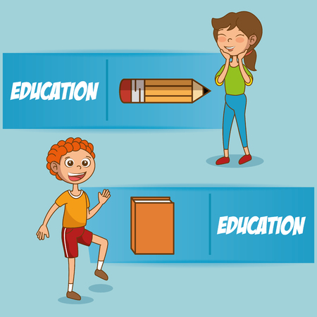 kids with education icons vector illustration design