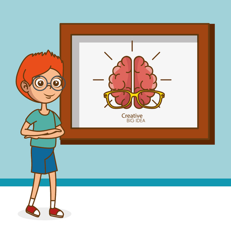 boy with creative brain vector illustration design Illustration
