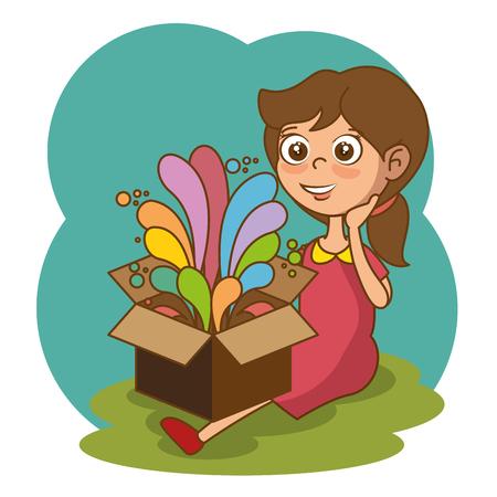 ボックスと創造的なアイデアベクターイラストデザインを持つ女の子