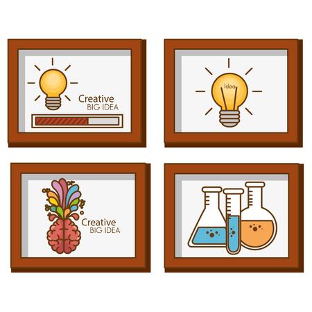 Creative big idea set icons vector illustration design
