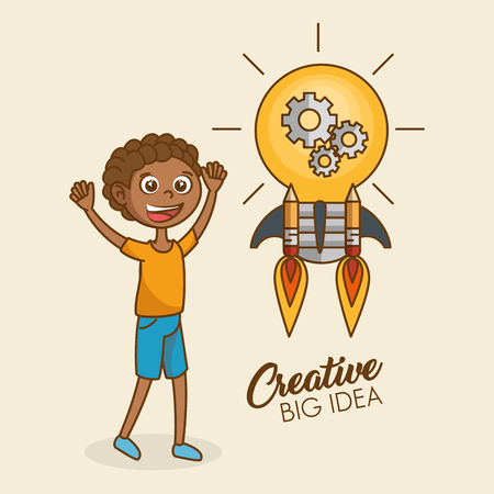 Boy with creative idea bulb vector illustration design Stock Vector - 97891560