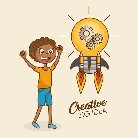 Boy with creative idea bulb vector illustration design