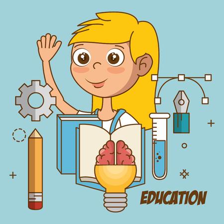Mädchen mit Bildungsikonenvektor-Illustrationsdesign Standard-Bild - 97892924