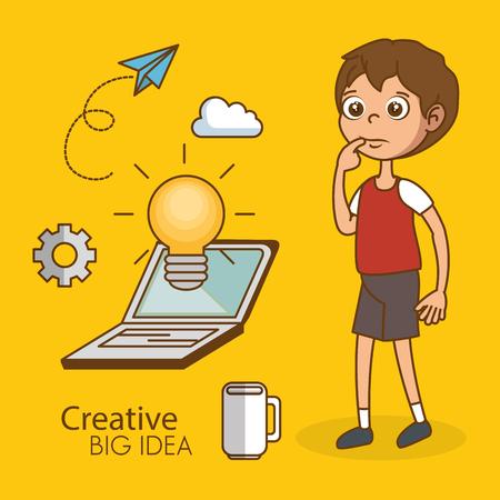 boy with creative big idea icons vector illustration design