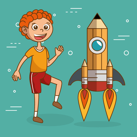 boy with pencil rocket launcher vector illustration design