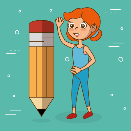 Girl with pencil education icon vector illustration design