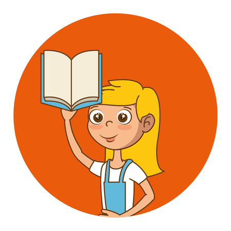 Girl with text book education icon vector illustration design Illustration