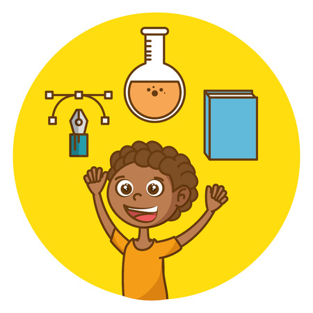 Boy with education icons vector illustration design
